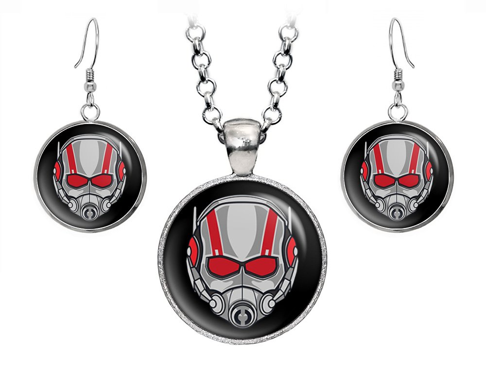 Ant-Man Necklace, The Avengers Jewelry, Yellowjacket Earrings, Superhero Wedding Party and Groomsmen Gift Gifts, Geek Geeky Present Nerd Presents by Wearable Treasures