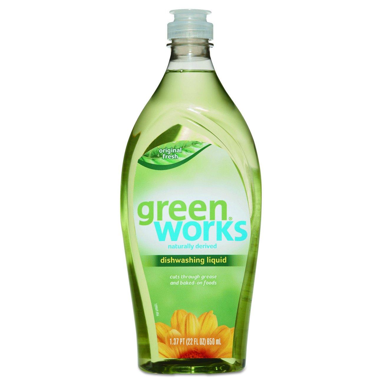 Green Works 31207 Manual Dishwashing Liquid Detergent, Original Fresh Scent, 22 oz. Volume, Ceramic, Corian (Pack of 6)