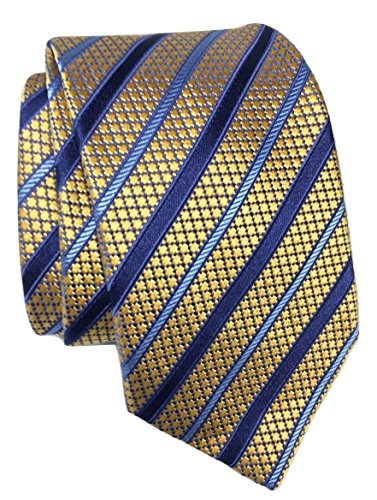 Ermenegildo Zegna Basketweave Yellow/Multi Satin-Stripe Silk - Tie Basketweave