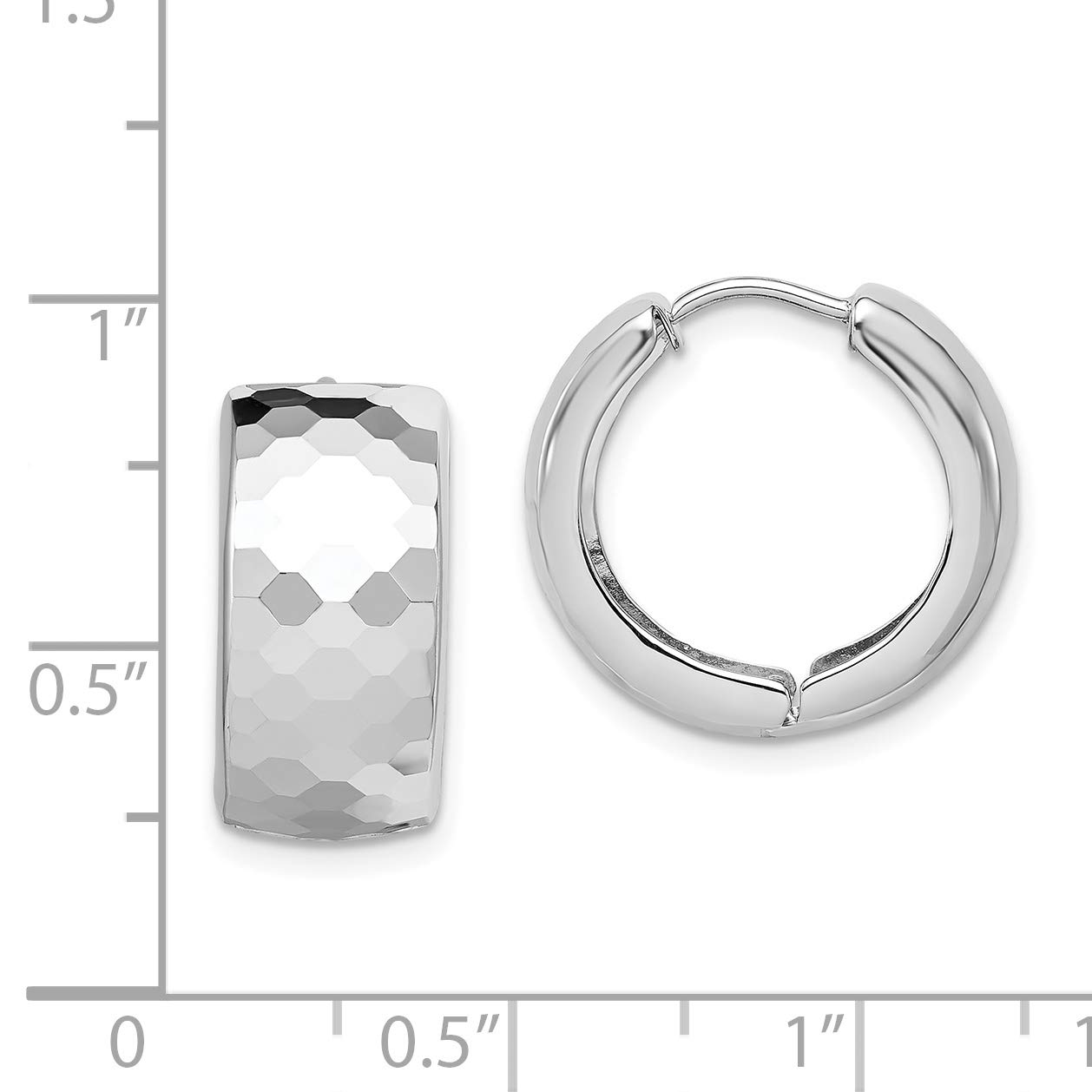 Sterling Silver Polished Patterned Hinged Hoop Earrings and a pair of 4mm CZ Stud Earrings