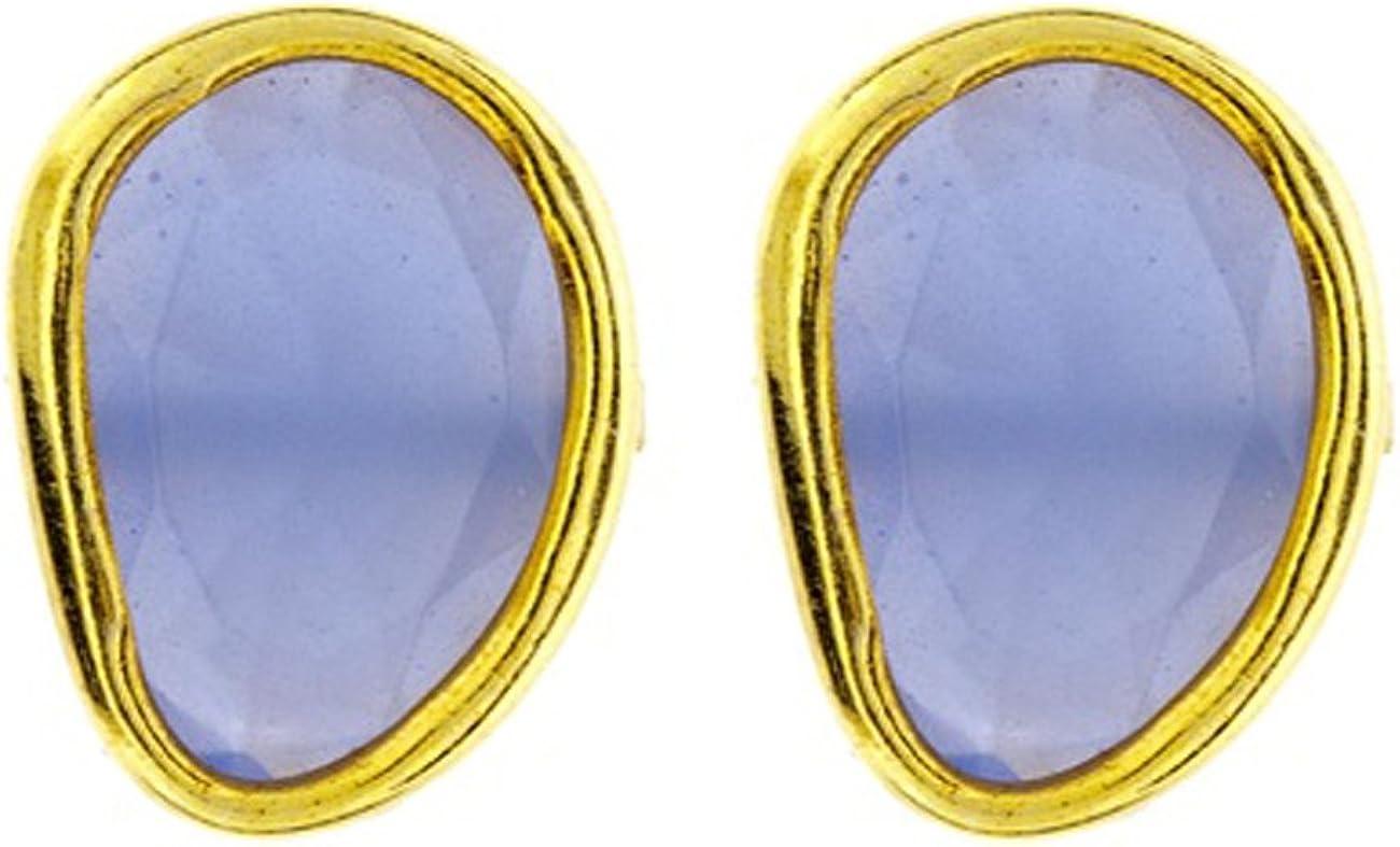 Córdoba Jewels   Pendientes en plata de Ley 925 bañada en oro. Diseño Cute Agua Marina Oro
