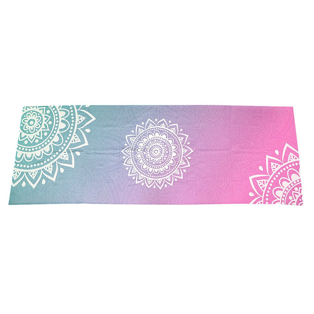 Qchomee Extrafeine Faser Yogamatte Rutschfestigkeit Yoga Matte Fitnessmatte Schweiß-Rutschfest Gymnastikmatte tragbare Yoga Trainingmattr bedruckt mit Design-Print für Yoga Training Gymnastik Outdoor