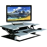 "Fancierstudio Standing Desk Riser Desk Extra Wide 38"" Fits Two Monitor Max Height 17.7"" Modern Gray Color Work Stand Desk Computer Desk RD-01 Gray"