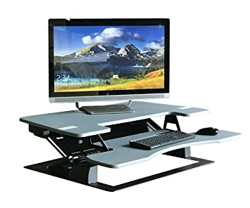 standing desk riser desk extra wide 38u0026quot fits two monitor max height - Desk Riser
