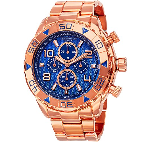(Akribos XXIV Extremis Mens Casual Watch - Engraved Vertical Lines Dial - Chronograph Quartz - Alloy Strap - Rose Gold Blue)