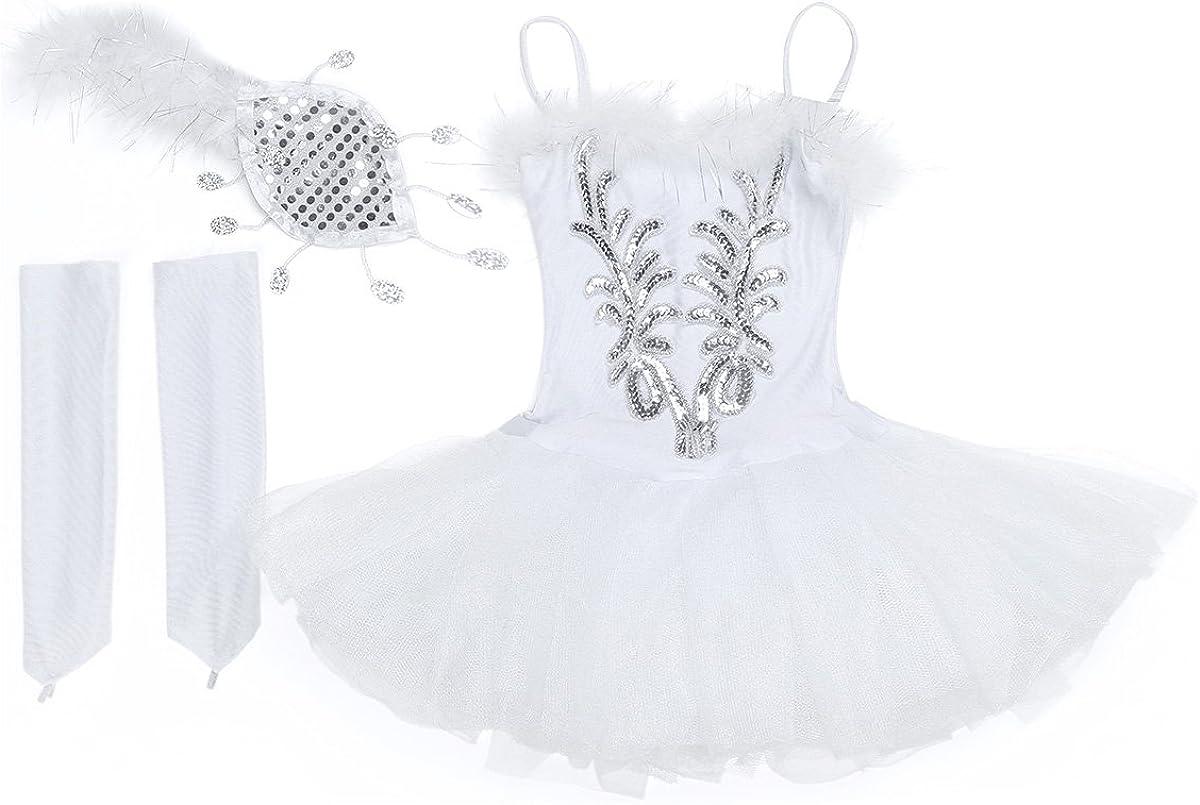 vastwit Kids Girls Shiny Sequins Camisole Ballet Dance Leotard Mesh Splice Tutu Dress Modern Performing Costume