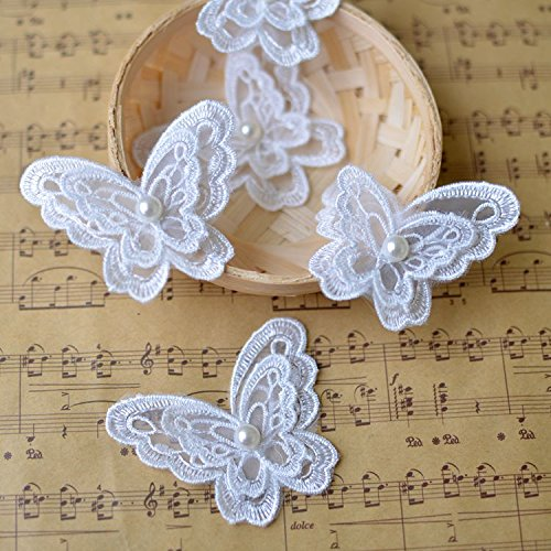 Toonol 10piece White Organza Embroidery Fabric Lace Clothes 3D Beading Butterfly Flower Patch Chiffon Dress Applique (Sew Fabric Flowers)