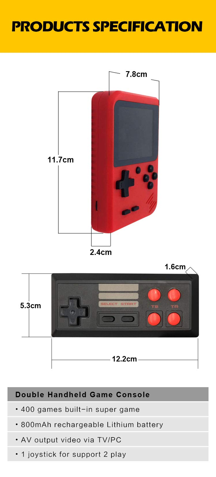 DigitCont Retro Mini Handheld Arcade, Built-in with 400 Classic Games Double Players Mode Miniature Console Handheld Portable Game Cabinet Machine Rechargeable Battery Inside Support Connect TV Red by DigitCont (Image #7)