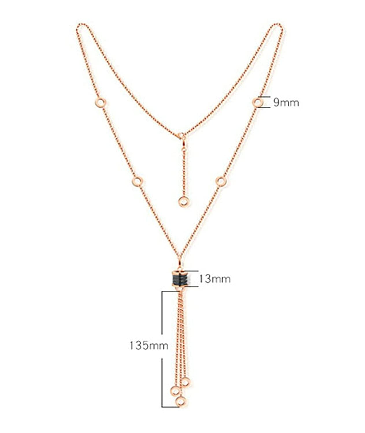 6Cm Novelty Jewelry Gift Aooaz Gold Plated Necklace For Women Circle Tassels Rose Gold Chain Length 71