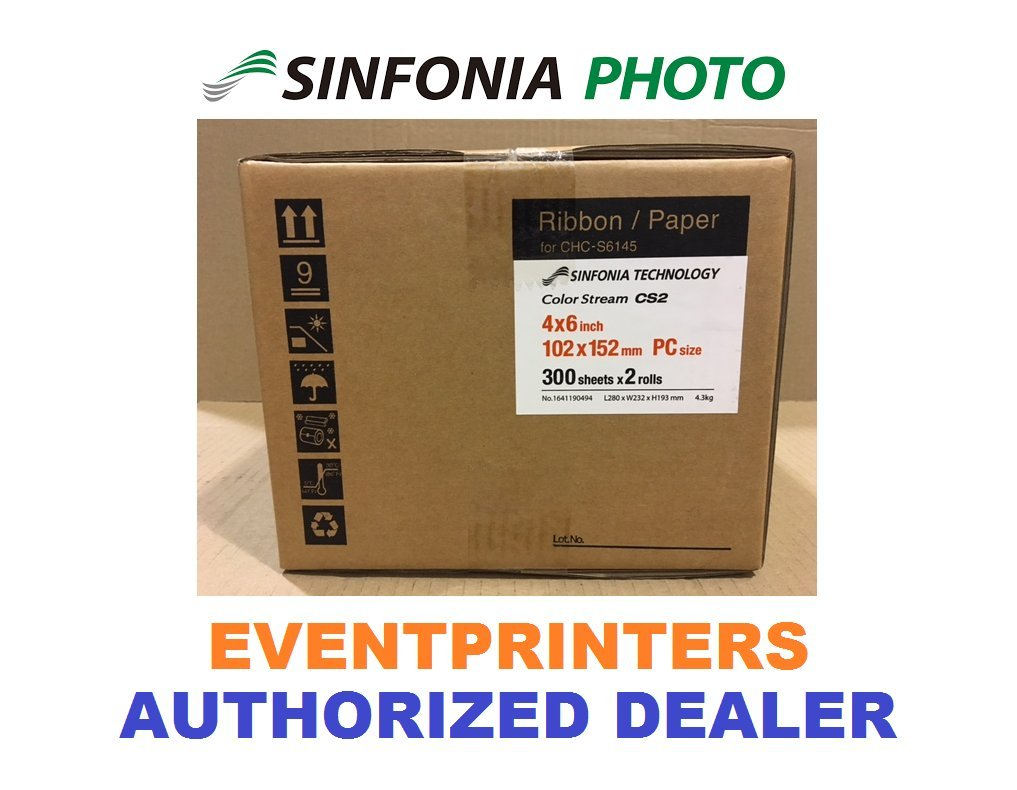 SINFONIA CS2 MEDIA SIZE 4X6 - Paper & Ribbon - 600 prints. For use with Sinfonia Color Stream CS2 printer. With FREE SAMPLES of our best selling photo folders (Eventprinters brand). by Sinfonia and Eventprinters