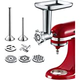 Food Meat Grinder Attachment Compatible with KitchenAid Stand Mixers Included 2 Sausage Stuffers -Useful Mixer Accessory…