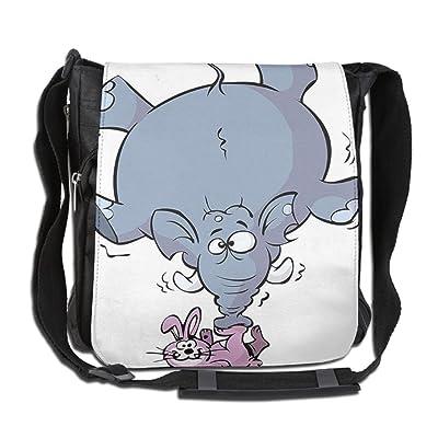 Lovebbag Rabbit Balancing Big Elephant Funny Mascot Animals Cartoon Creatures Circus Crossbody Messenger Bag chic
