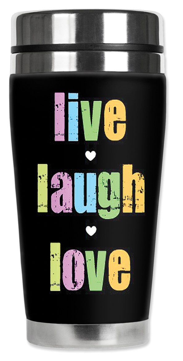 Mugzie 408-MAX ''Live, Laugh, Love'' Stainless Steel Travel Mug with Insulated Wetsuit Cover, 20 oz, Black by Mugzie (Image #1)