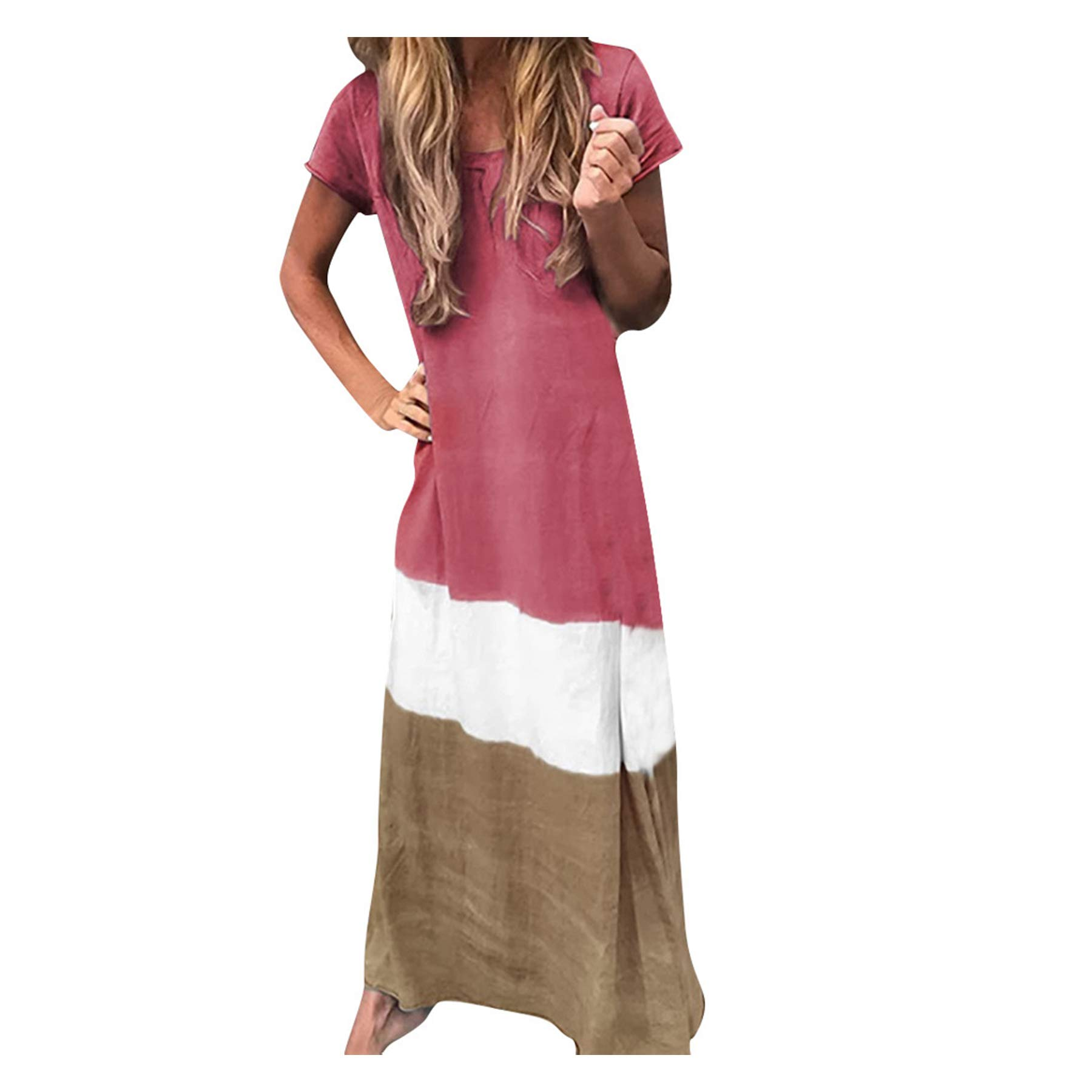 Mikilon Women's Color Block Short Sleeve Casual Loose Color Block Oversized Maxi Dress Red