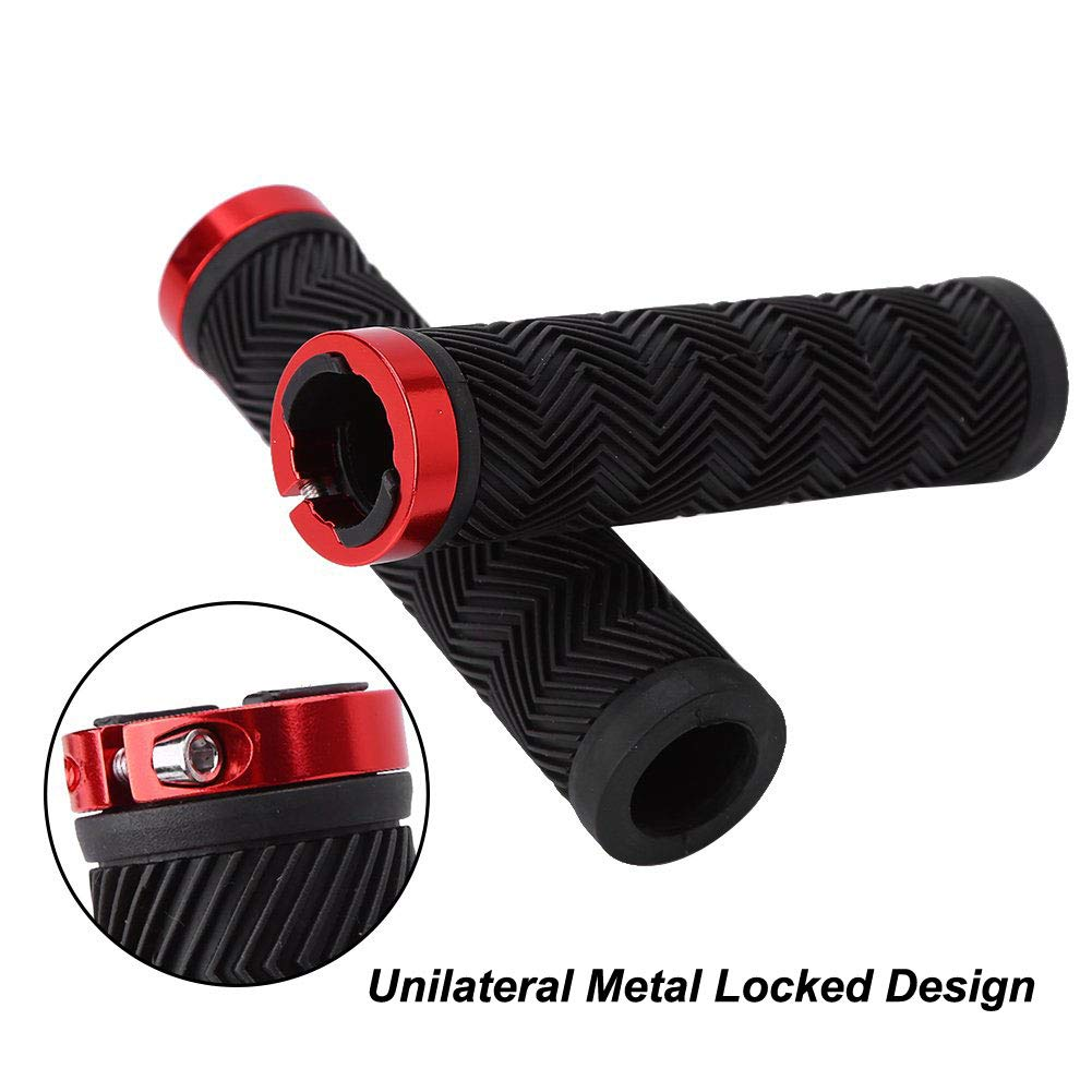 Red Rubber Mountain Bicycle Handlebar Grips with Unilateral Metal Lock MTB BMX Grips