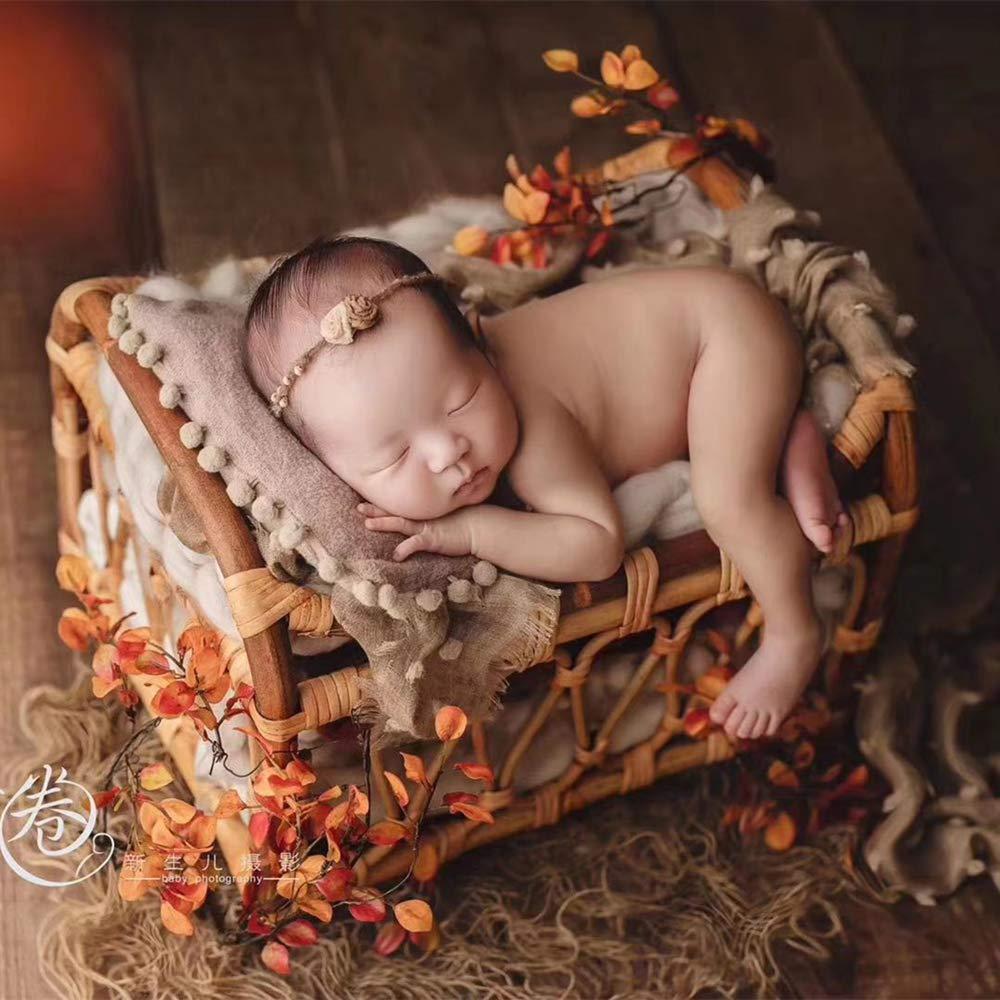 Dvotinst Newborn Photography Props for Baby Retro Handmade Rattan Basket Bucket Fotografia Accessories Studio Shoots Photo Props by DVOTINST