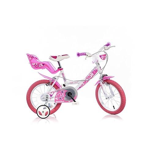 Vélo Enfant Fille 16 Pouces Dino Rose Blanc