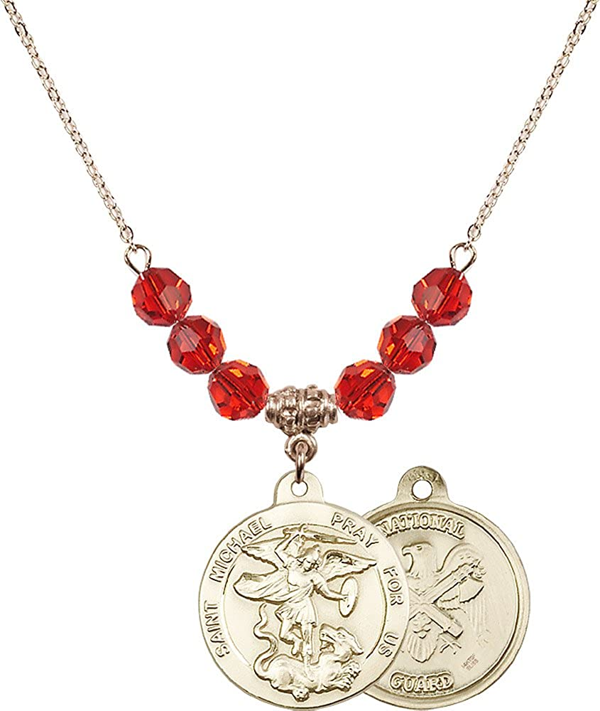 Natl Guard Charm. 18-Inch Hamilton Gold Plated Necklace with 6mm Ruby Birthstone Beads and Gold Filled Saint Michael