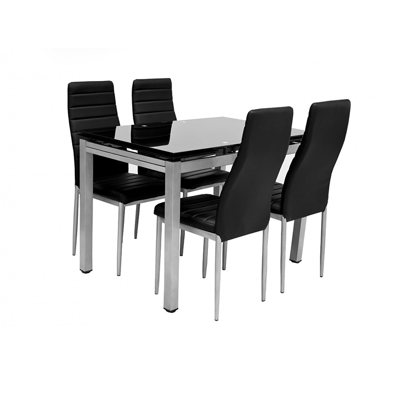 Awesome table et chaises de cuisine noire contemporary for Ensemble table extensible et chaise