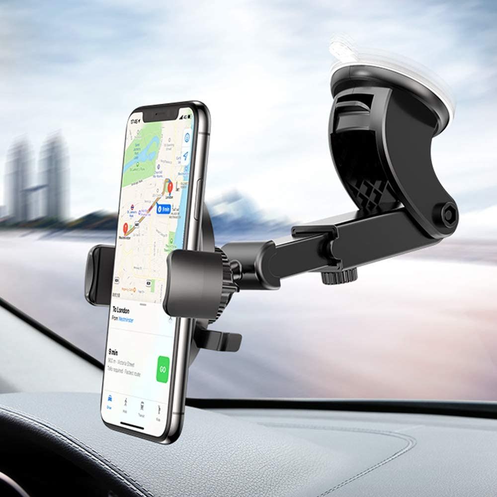 FLOVEME Windshield Car Phone Mount - Cell Phone Holder for Car Hands Free Strong Suction Cup Dashboard Phone Mount Compatible with iPhone 11 Pro Max XS X XR 8 7 6 Plus Samsung S20 S10 S9 Note 10 9 A30