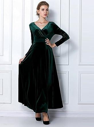 13669e8612d Eozy Robe Longue Vintage Velours Col V Manches Longues Robe De Soirée  Cocktail Automne (Vert
