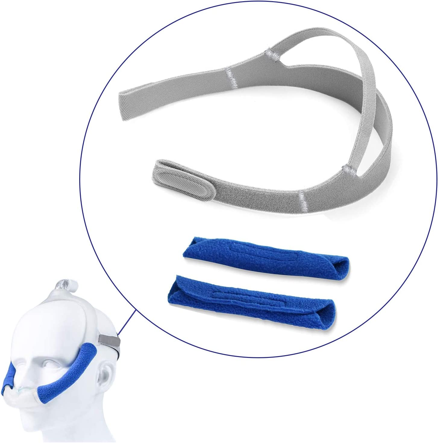 CPAP Headgear with 2-Pack Strap Covers for Dreamwear Nasal Mask, LALASTAR Replacement for Respironics DreamWear Headgear, CPAP Nasal Mask Strap for CPAP Machine (Headband+Covers)