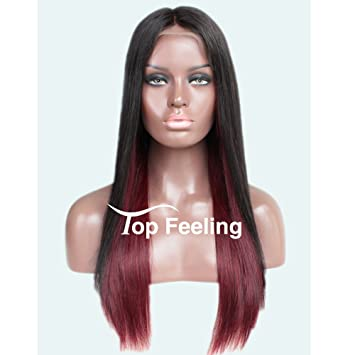 TopFeeling Ombre Human Hair Wigs Straight Virgin Hair Lace Front Human Hair  Wigs For Black Women 47d5a9612