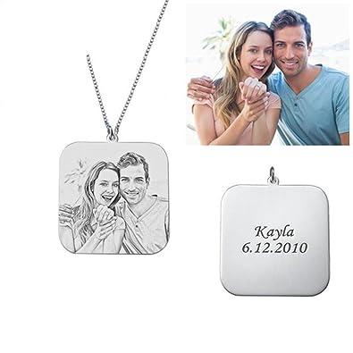 69585ddbb88f Y.Verve Collar Colgante Foto Plata 925 Aniversario Matrimonio Familia(Plata  22)