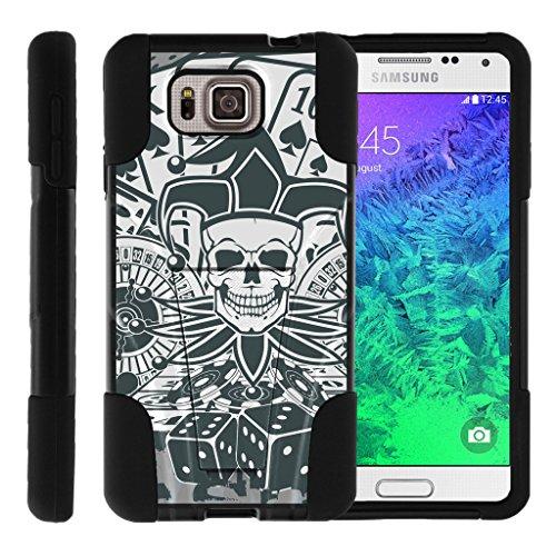 TurtleArmor | Samsung Galaxy Alpha Case | G850 [Gel Max] Dual Layer Hybrid Shock Silicone Hard Shell Case Kickstand Cool Designs - Joker Skull