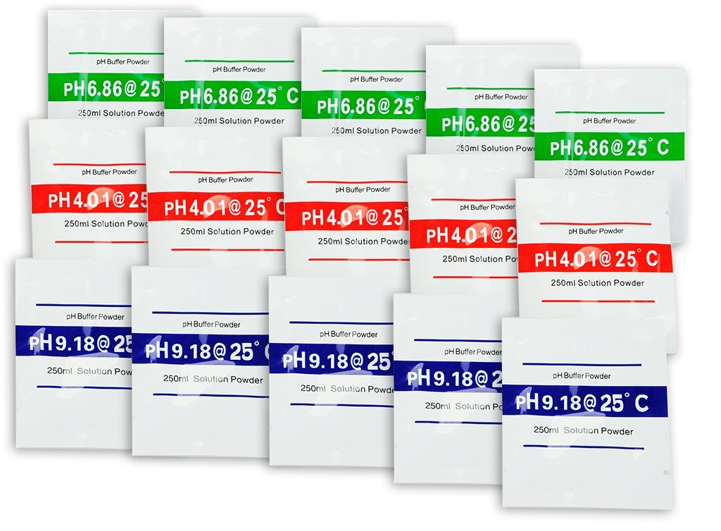 15-Pack Buffer Powder for pH Meters - Works with All Electronic pH Meters