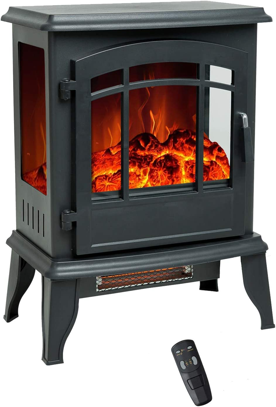 FLAME&SHADE 23 inch Electric Fireplace Wood Stove, Portable Freestanding, Indoor Space Heater with Remote & Timer, 1400w