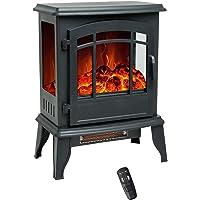 FLAME&SHADE Chimenea Eléctrica, Calefactor Cerámico Calentador de Habitación de 1800/900w Chimenea Eléctrica de Pie con…