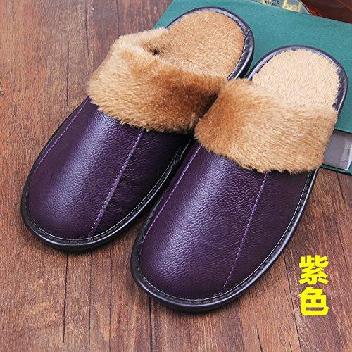 Inverno pantofole uomini e donne paio di pantofole di cotone molto spessa spessa pantofole in pelle per 26 yard (36-38), il viola