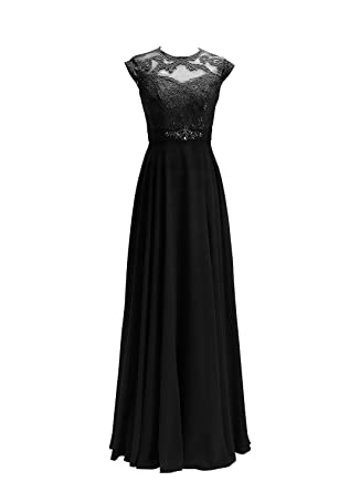 ALAGIRLS Women Long Prom Dresses See Through Lace Applique Chiffon Evening Gowns Black UK6