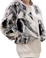 Aishang Women's Plus Black White Gray Mixed Color Faux Fox Fur Coat Cardigan