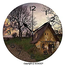 SCOCICI Frameless Clock 3D DIY Decorative Clock Battered Stone House in Field Messy Shed Building Provincial Pastoral Concept 10 Inch Large Size Round Wall Clock for Living Room Bedroom Office Hotel