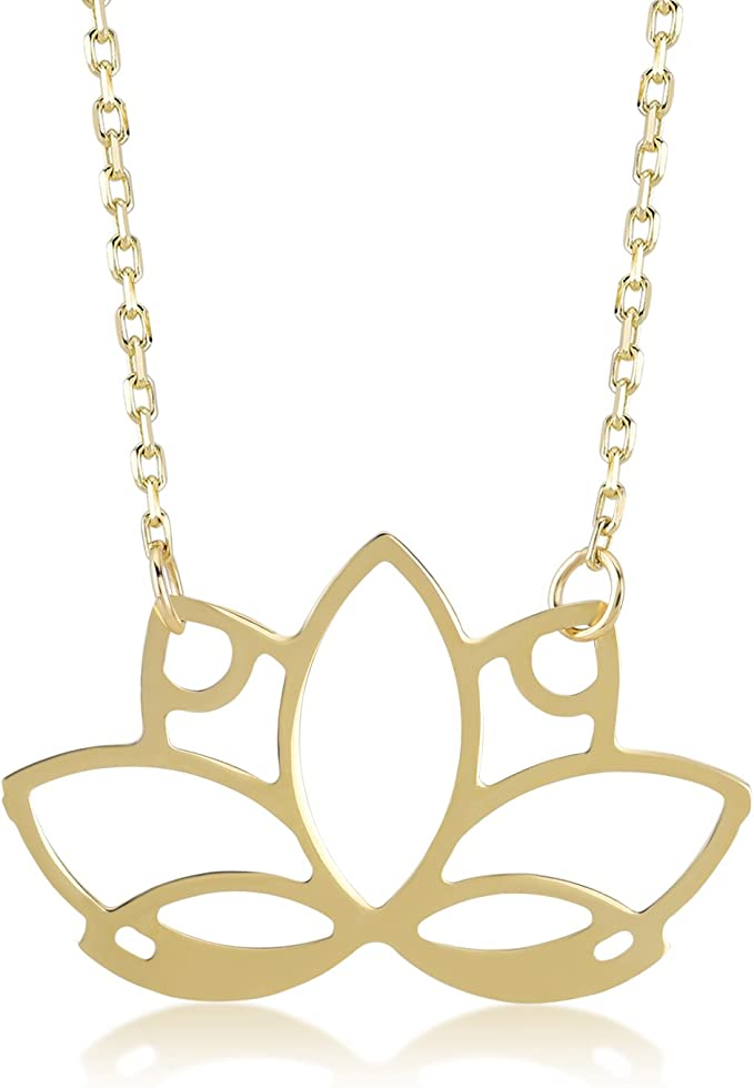 Lotus Flower Necklace 14K Gold Filled Chain Gold Lotus Necklace Gold Vermeil Dainty Flower Necklace Yoga Necklace Lotus Pendant