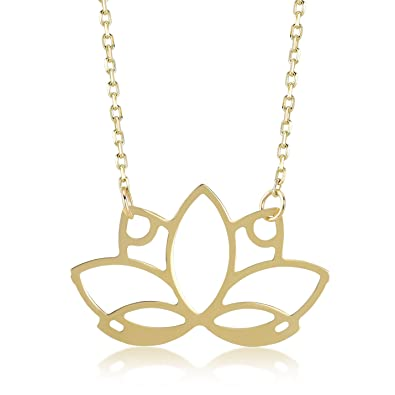 "f96cc3c440ea02 Gelin 14k Real Gold Lotus Flower Necklace for Women, 18"" with Chain,  Fine"