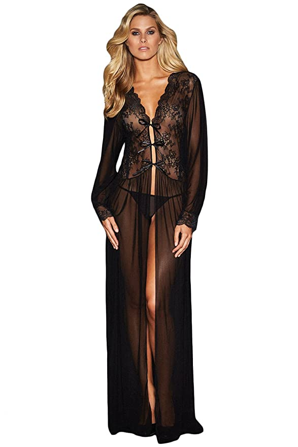 Amazon.com: LittleLittleSky Womens Sheer Long Sleeve Lace Robe Gown Long Dress with Thong ((US 10-14)L): Arts, Crafts & Sewing