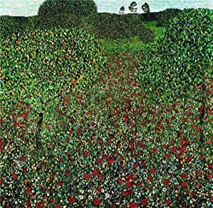 'gustav klimt field of poppies' oil painting, 24x24 inch / 61x62 cm ,printed on Cotton Canvas ,this Best Price Art Decorative Prints on Canvas is perfectly suitalbe for Basement gallery art and Home decor and Gifts