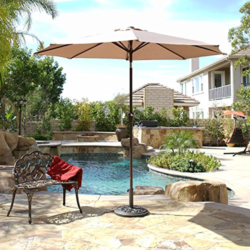 Belleze 9 FT Outdoor Patio Lawn Umbrella UV resistant Water Resistant Canopy Cover Shade with Tilt Function Lawn -Beige For Sale