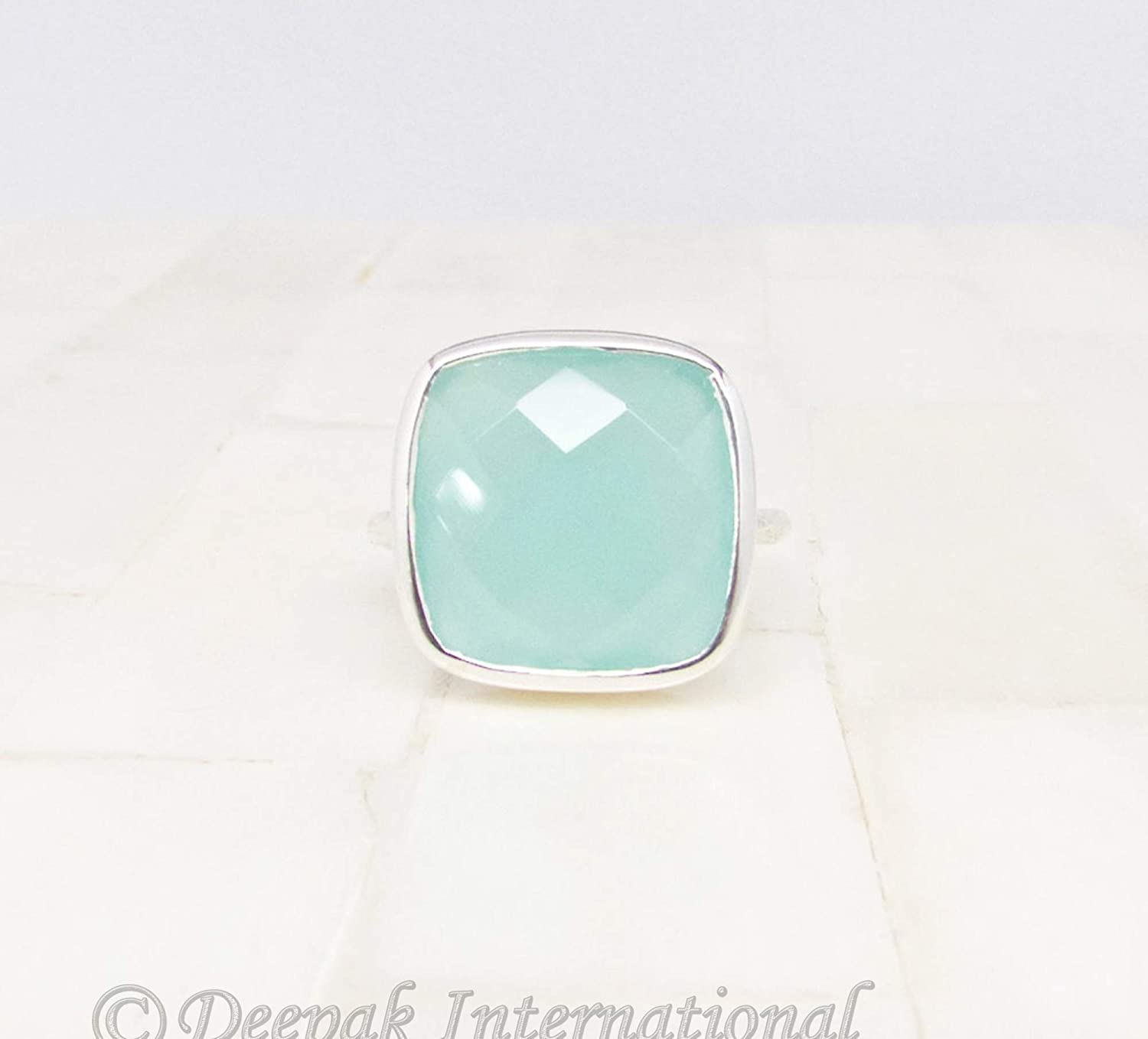 Natural Square Aqua Chalcedony Gemstone Ring 925 Sterling Silver Fine Jewelry