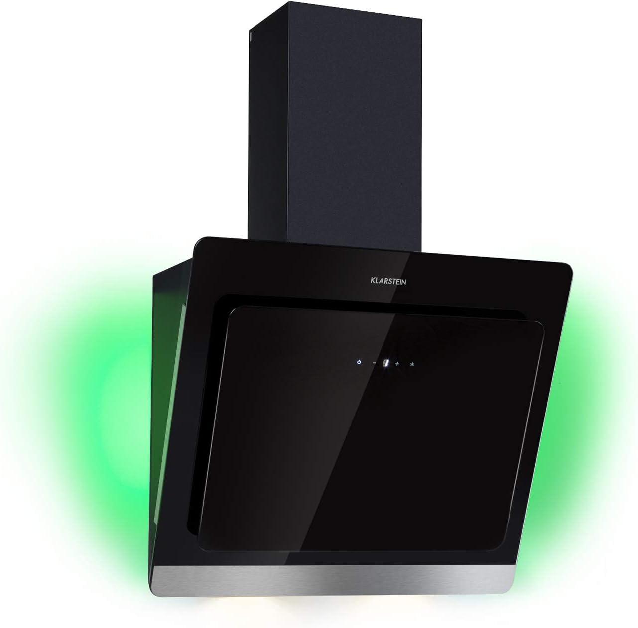 Klarstein Aurora Eco 60 - Campana extractora, 550 m³/h, Bajo Consumo, Eco Excellence, Display LED, Balanced Light Concept, 3 Niveles, Diseño Compacto, Clase fluidodinámica A, Negro