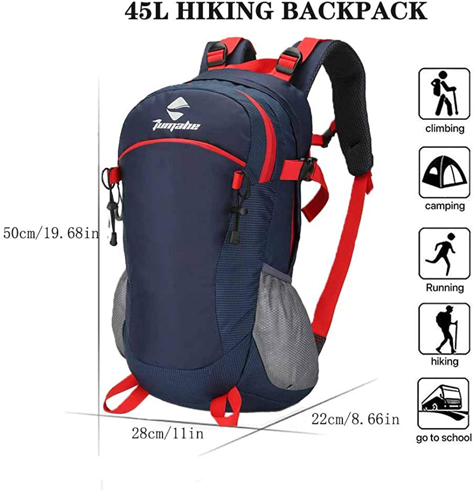 WintMing 45L Hiking Backpack Outdoor Travel Daypack Waterproof Backpacking Backpack for Camping Traveling Climbing Cycling