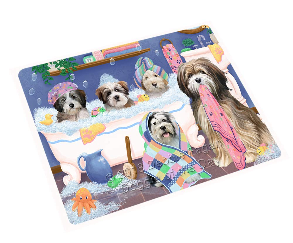 Rub A Dub Dogs in A Tub Tibetan Terriers Dog Blanket BLNKT130881 (50x60 Plush)