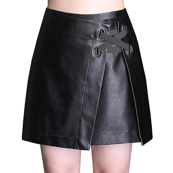 DISSA FS628 - Falda de Piel sintética para Mujer (tamaño Grande ...
