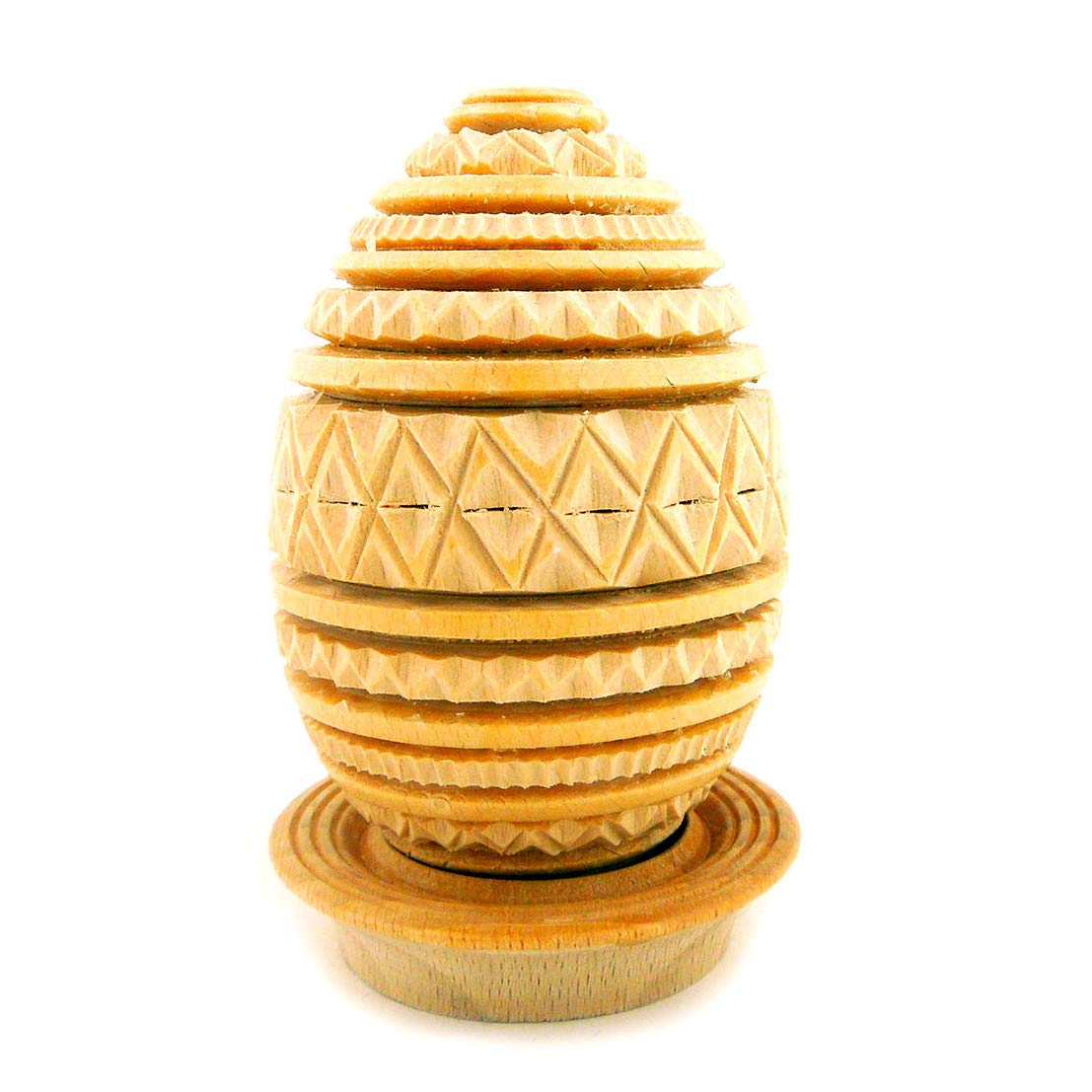 World Faith Carved Wood Egg Egg Hand Carved from Beach Wood with Its Holder - from Ukraine 3-1/2 Inch