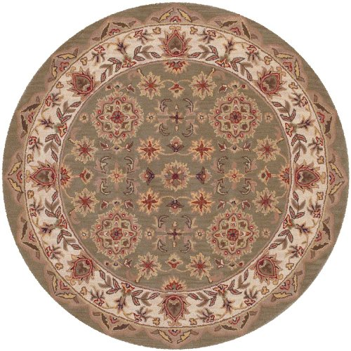 LR Resources Traditional Round Area Rug 5' Green-Ivory Shapes Collection