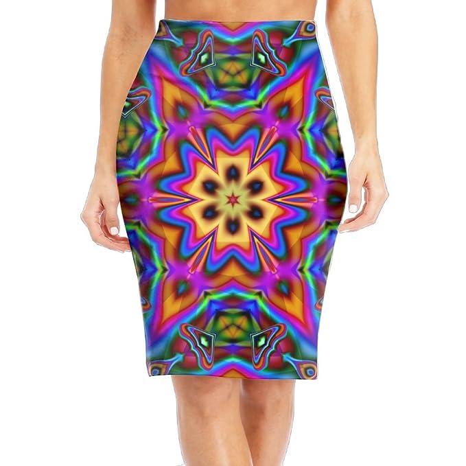 1dc2e50f725 Amazon.com  NKZSUX Womens Stylish Vintage Psychedelic Midi Pencil Skirt  Stretchy Slim Pencil Skirts  Clothing