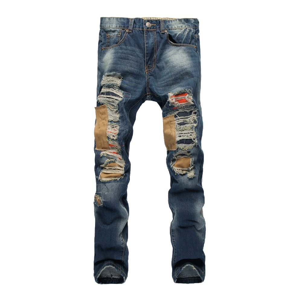 YRHDC Mens Holes Straight Jeans Retro Leisure Slim Fit Skinny Denim Trousers Cotton Pants Size 28-38